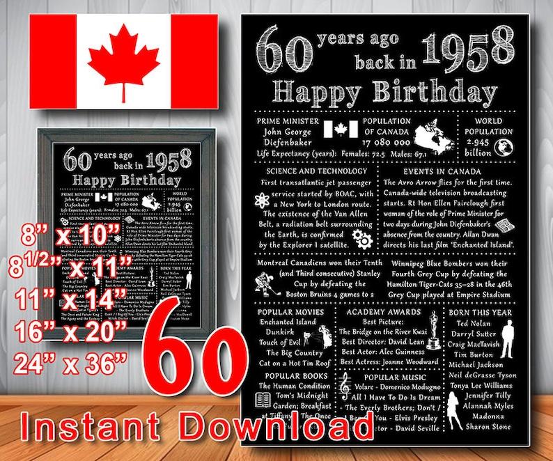 1958 60th Birthday Chalkboard CANADIAN CANADA
