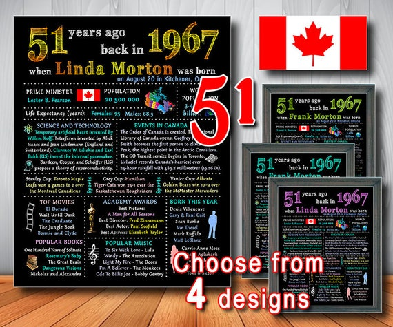 51st CANADIAN Chalkboard Poster 1967 Birthday Sign Gift 51