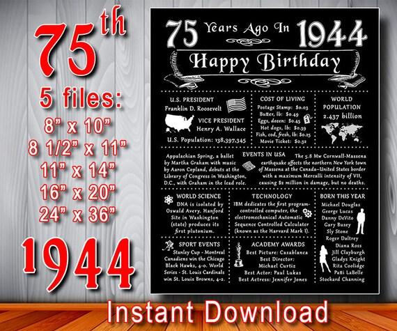 75th Happy Birthday Chalkboard 1944 Gift Poster INSTANT