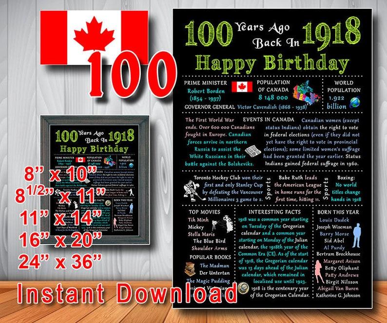 1918 100th Birthday Gift CANADIAN CANADA