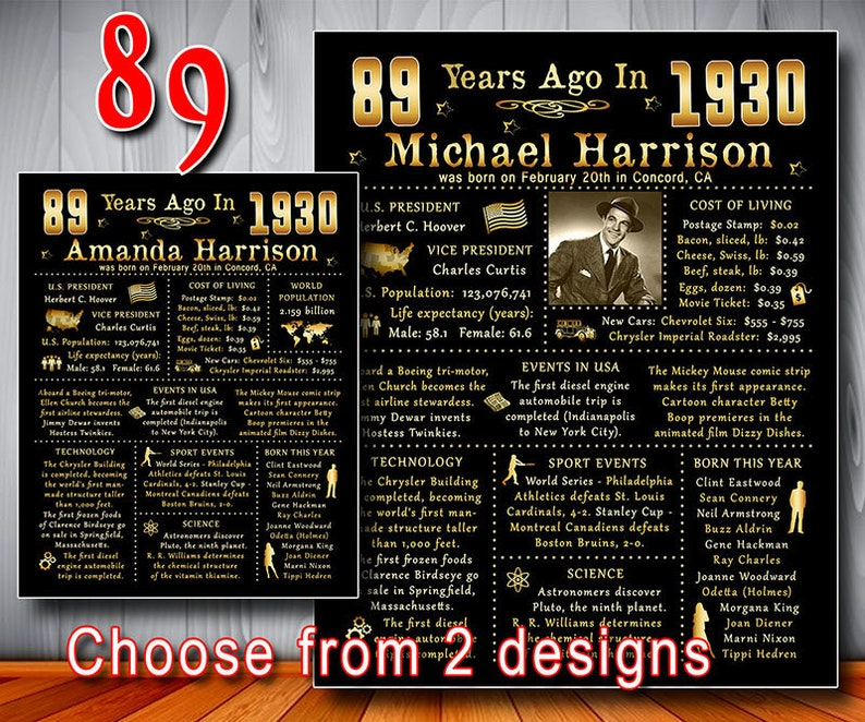 1930 - 89th Birthday Poster, PERSONALIZED file, USA facts, Gift with Photo,  89 Years Ago in 1930 Sign, Decor, Banner, Printable File (#1085)