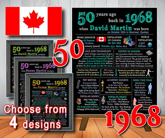 50th CANADIAN Chalkboard Poster PERSONALIZED 1968 Birthday