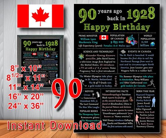 1928 90th Birthday Gift CANADIAN CANADA