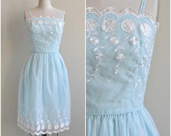 1950s Dress / Polka Dot Embroidered Dress / Vintage 50s Light Blue Dress