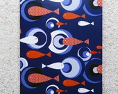 "Printed double postcard and matched white envelope - Design ,  "" circles in the water "" navy blue"