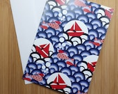 "Printed double postcard and  matched white envelope- Design : "" boats on the water "" red"