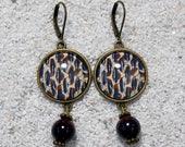 "Round sleepers earrings, Design Beige wildcat skin beige sand, blue and chocolate, Model ""Caroline"""