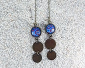 """Long hanging sleepers earrings with cabochon and metal medallions,  Blue Wax design- Model  """"Lucie"""""""