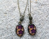 "Long drop earrings, decorated bead oval medallion- Model "" Baya"" - Design Pink wax flowers"