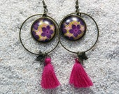 """Long drop earrings, round hoops and cabochon, charm and pompom- Model """"Zina"""" - Pink wax flowers design"""