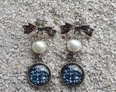 """Long hanging earrings,  bow tie studs, pearly beads and cabochon - """"tweed"""" design - model """"Karla"""""""