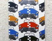 "Printed double postcard and matched white envelope- Design "" Auto retro, race cars """
