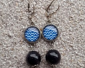 """Sleeper hanging earrings, design """"blue wave"""" cabochon and glitter bead- model """"Gabrielle"""""""