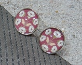 "Cufflinks, ""design Retro 1930, Art Déco Bordeaux flowers"" base silvery metal and cabochon - model ""Hugo"""