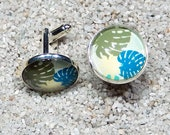 "Cufflinks  ""Hugo"" - silvery base, design Monstera Deliciosa turquoise blue"