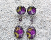 """Sleeping earrings long, hanging, round and oval cabochon, crystal beads, design """" purple africa wax  dots and cowries""""- Model """"Teresa"""""""