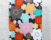 "Printed double postcard and matched white envelope- Design ""Multicolored owl and flowers"""