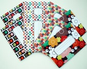 "Printed invitations-cards, pre-folded and prefilled with sticker -Design "" Multicolored owl"" - set of 8 invitations"