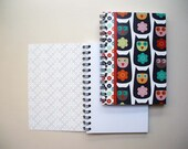 """Printed pad, small format with spirals, united white sheets Design """" Multicolored owl """""""