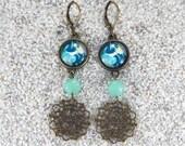 """Boucles d'oreilles  dormeuses longues, pendantes, cabochon, perle et filigrane, Modèle """"Agnès"""" Design Monstera delisiosa"""