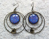 """Long drop earrings - Design blue wax, hoops, round cab and little star charm - Model """"Mathilde """""""