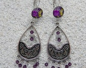 """Long hanging sleepers earrings,design """" Purple wax dots and cowries"""",silvery metal,cabochons, crystal pearl chandelier, model """"Melodie"""""""