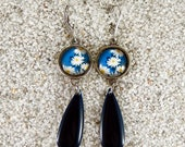 """Long hanging sleepers earrings, round cabochon and enamelled drop, Model """"Flavia""""- design Blue Marguerite"""