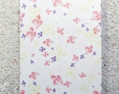 "Printed double postcard and matched white envelope- Design "" Hortensia fluo, small flowers botanist's drawing"""