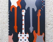 "Printed double postcard and matched white envelope- Design "" Big blue guitar"""
