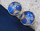 "Cufflinks model ""Hugo""  silvery base metal -  design "" Blue Wax Mini Dots and shell cowries"""