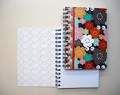 """Printed pad, small format with spirals, united white sheets Design """" Multicolored owl and flowers """""""