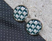 "Cufflinks, ""Black and white small apple design"" , base silvery metal and cabochon - model ""Hugo"""
