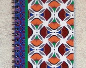 """Printed pad, small format with spirals, united white sheets- Design """" White Africa wax """""""