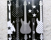 "Printed double postcard and matched white envelope- Design "" Big black guitar"""