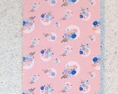 "Printed double postcard and matched white envelope- Design "" Pink dots and liberty"""