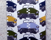 "Printed double postcard and matched white envelope- Design "" Khaki Auto retro, race cars """