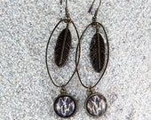 """Long drop earrings , charm and round cabochon, old brass metal -Model  """"Louise""""- Wild cat skin print"""