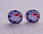 "Cufflinks , blue and red fishes design, silvery metal and cabochon - model ""Hugo"""