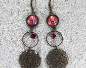 """Long hanging earrings, cabochon, ring,  metal filigree and crystal beads - Design """"Russia rouge"""", model """"Océane"""""""