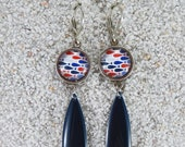 """Long hanging sleepers earrings, Blue little fishes design, cabochon and enamelled drop- Model """"Flavia"""""""