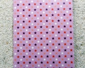 "Printed double postcard and matched white envelope ""- Design :  ""Pink stars"""