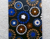 "Printed double postcard and matched white envelope- Design "" Blue Fireworks flowers """