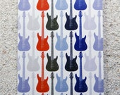 "Printed double postcard and matched white envelope- Design "" Mini blue guitar"""