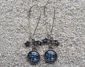"""Long hanging earrings sleepers, design """"black and white tweed"""" knot and cabochon - model """"Alice"""""""