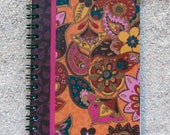 """Printed pad, small format with spirals, united white sheets Design """"Orange palmette,paisley and flowers"""""""