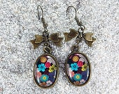 """Long earrings, oval cabochon and knot- model """" Rose"""" - Multicolored flowers print"""