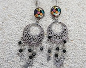 """Long  hanging earrings, boho chic style, clover charm and pearl crystal - design """"flower power black""""- model """"Emilie"""""""