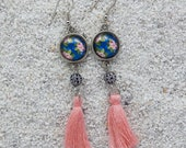 """Long drops earrings, round cabochon, pearl and pompom - Model """" Nelly"""" - Blue romantic roses design"""
