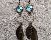 """Long drop earrings, cabochon and feather, Red india paisley design, Model """" Maryam"""""""