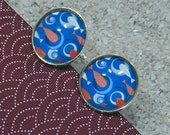 "Cufflinks model ""Hugo"" , silvery base - Design ""Red fishes and Blue circles in the water"""